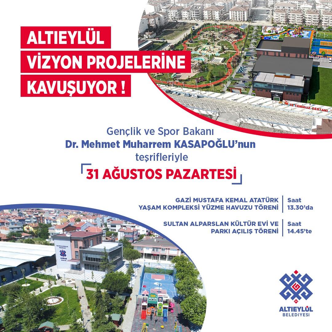 Altıeylül Belediyesi Gençlik ve Spor Bakanımızın teşrifleriyle gerçekleştirecek program
